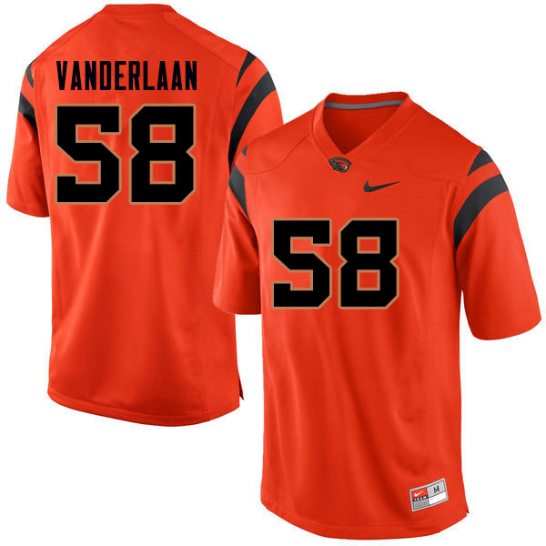 Men #58 Rob Vanderlaan Oregon State Beavers College Football Jerseys Sale-Orange
