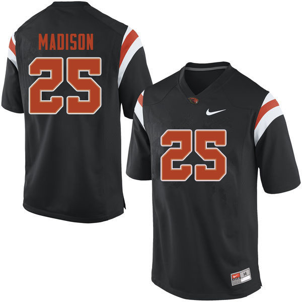 Men #25 Ta'Ron Madison Oregon State Beavers College Football Jerseys Sale-Black