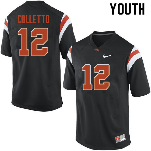 Youth #12 Jack Colletto Oregon State Beavers College Football Jerseys Sale-Black