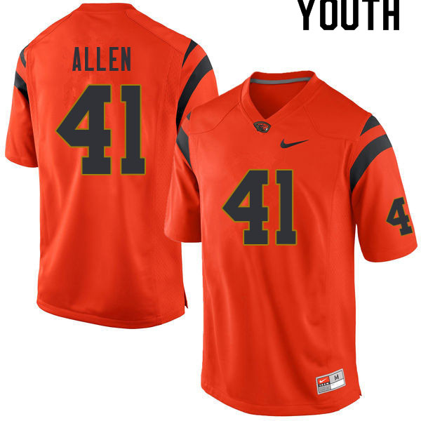 Youth #41 Jontae Allen Oregon State Beavers College Football Jerseys Sale-Orange
